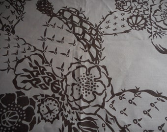 Vintage Mid Century Harwood Steiger Brown Taupe Cactus Flower Bee Butterfly Fabric, almost 2 yards