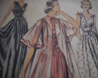 RARE Vintage 1950's Advance 5746 Peignoir and Nightgown Dress Sewing Pattern Size 12 Bust 30