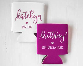 Bridal Party Can Coolers / Personalized Can Coolers, The Bride, Bachelorette Gift, Bridal Party Gifts, Personalized Bachelorette Gift
