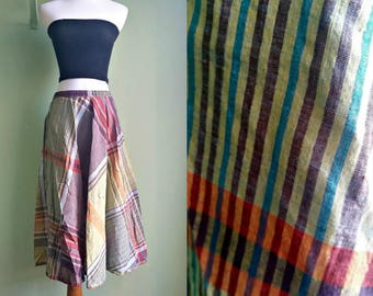 1970s Indian Cotton Midi Length Skirt - Elastic Waist Plaid Skirt - XS / Small