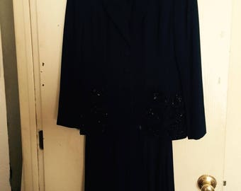 Vintage 1980s Zelda Navy Blue Roaring 20s 2-Piece Evening Dress (size 4) with FREE GIFT
