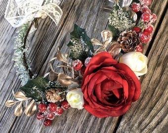 Winter Flower Crown, Boho Flower girl, Red, Christmas, flowergirl crown, baby, girls, teens, adult, bride flower crown, photo shoot