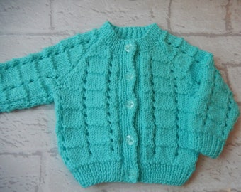hand knitted baby cardigan / hand knit sweater / mint green cardigan / 0-3 month sweater