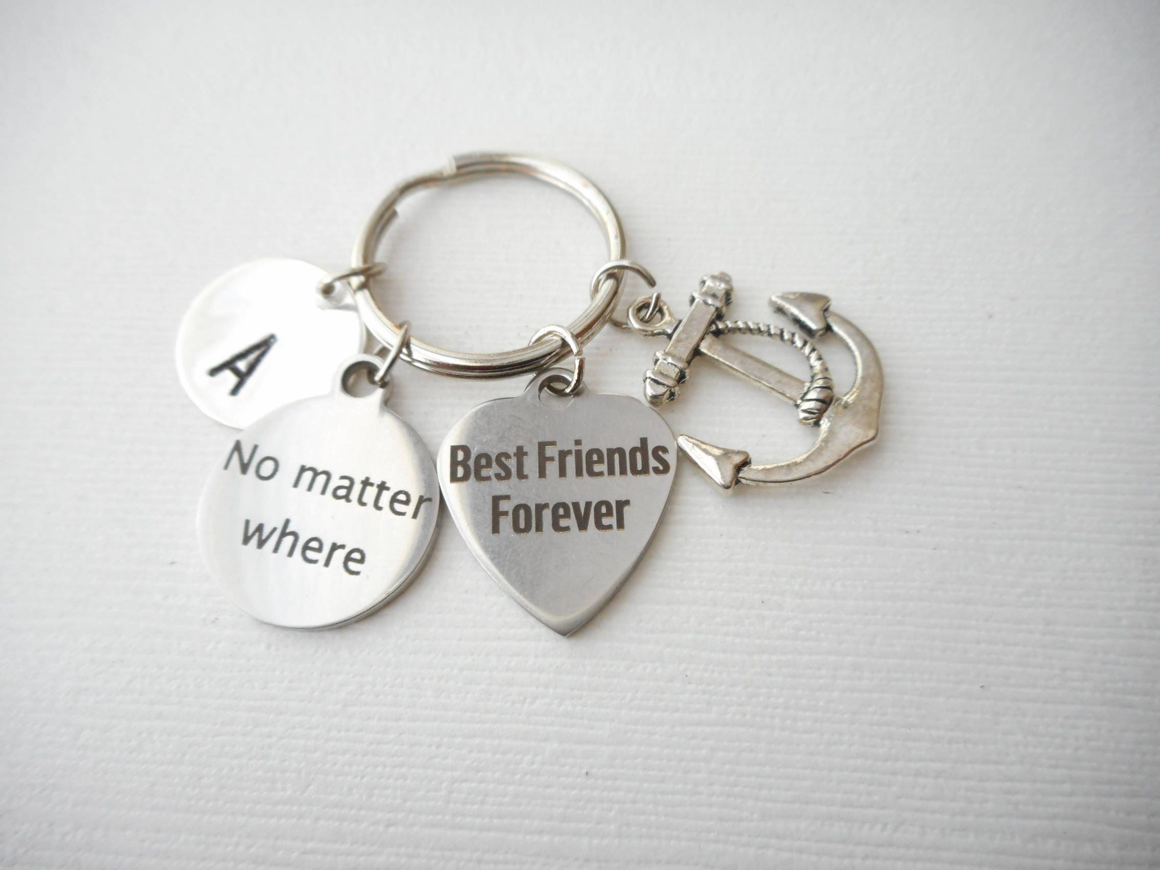 No Matter Where, Anchor -Initial Keychain/ sister gift, Mom, teen,