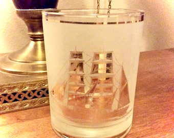 Vintage Culver 22k Gold Trim Clipper Ship Double Old Fashioned Glass, Mid Century Nautical Barware