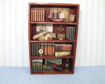 OOAK  Miniature Antique   Filled Nautical cabinet dollhouse miniature