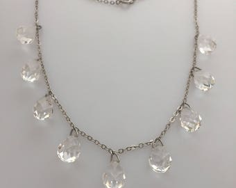 ART DECO Faceted Crystal Drop Necklace Clear Glass Briolettes Faceted Glass Necklace 1920s Vintage Deco Choker Necklace