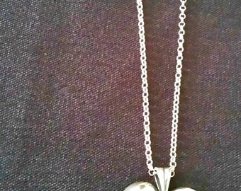 Sterling heart necklace with Swarovski briolette and pearl and crystals