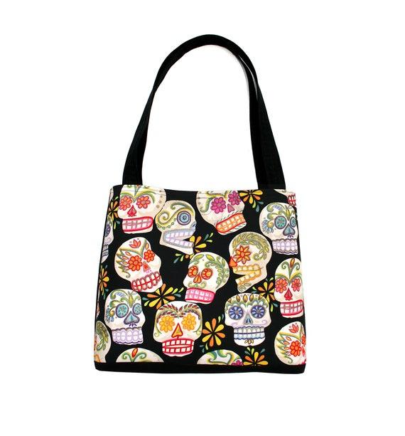 Sugar skulls, skulls, Dia de los Muertos, Halloween, large tote, tote bag, travel bag