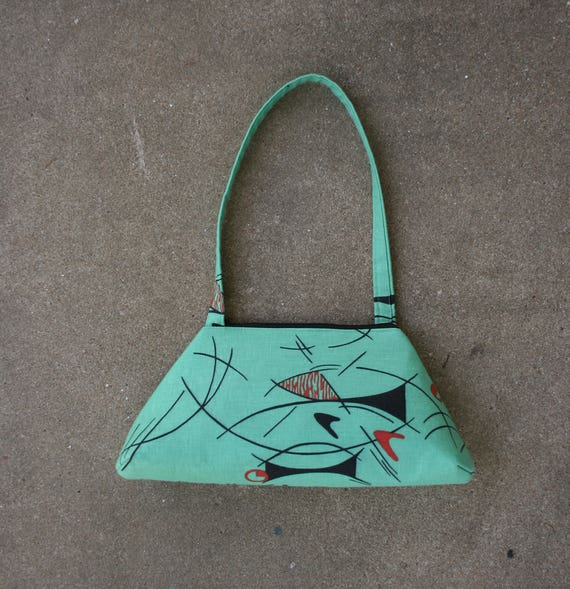 SALE! Mint green, mid century modern, vintage inspired, retro style, tote