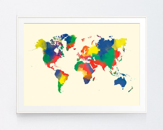 Multicolor world map printable wall art printable poster multicolor world map printable wall art printable poster world map wall decor office decor map decor map poster instant download sciox Image collections