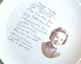 recipe display plate, plate with recipe, your handwriting here, custom plate, ceramic plate recipe display, kitchen decor, wedding gift
