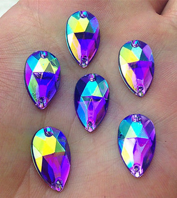 50pcs Royal Purple AB 18mm*11mm Flat Back Tear Drop Sew On Acrylic Rhinestones Embellishment Gems C15