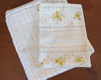 Vintage Sheet Set - Scalloped Lace Floral Stripe - Full or Double Flat Sheet & Pillowcase