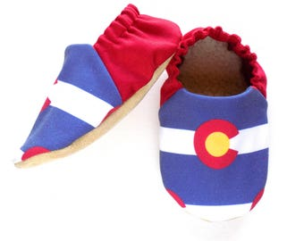 Colorado Flag Baby Shoes, Colorado Baby Booties, Baby Soft Shoes, Colorado Baby, Slip On Baby Shoes, Baby Gift, Available in 3 Sizes