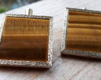 Tigers eye gold tone cuff clips men's unisex jewellery jewelry hallmarked DESTINO cuff links