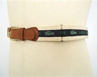 Vintage Lacoste Logo Pattern Belt / men's preppy leather and cotton cord fabric belt with navy blue & green alligator stripe pattern