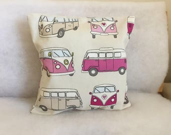 Handmade Classic Camper Van Cushion Cover, 12 inch cotton pillow