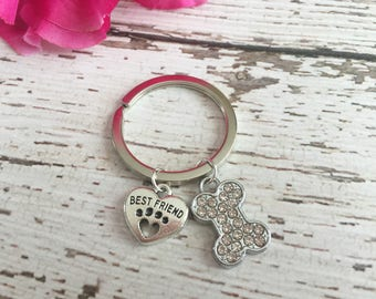 Best Friend and Bling Key Ring for Dog Moms