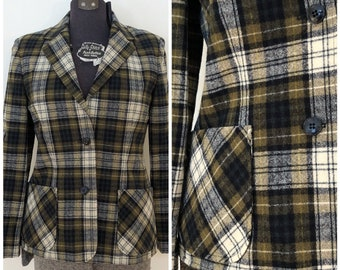 Vintage Wool Blazer / Med/Lg / Wool Plaid Blazer