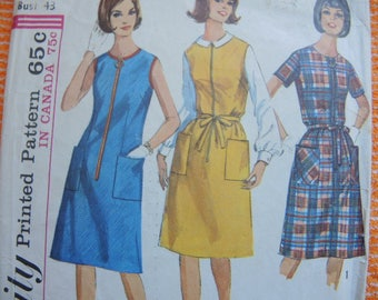 vintage 1960s Simplicity sewing pattern 6095 misses one piece dress or  jumper size 22 1/2
