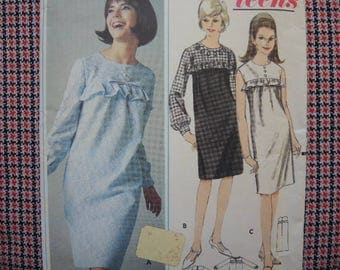 vintage 1960s Butterick sewing pattern 3741 misses quick N easy one piece dress size 14T