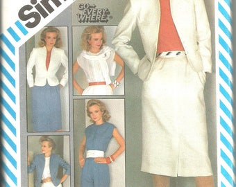 Simplicity 6272 vintage uncut size 12 womans suit, pants, skirt funnel neck jacket