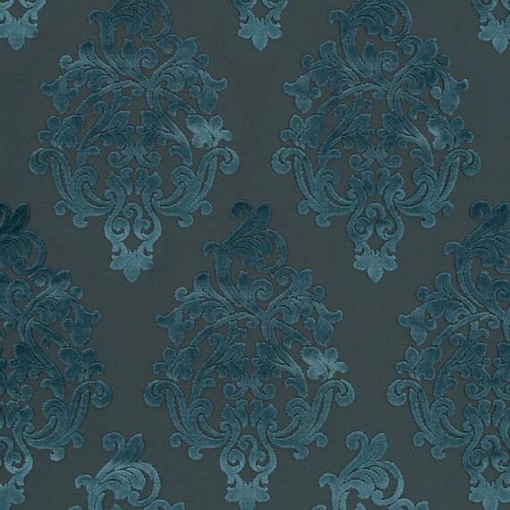Olive Green Velvet Damask Upholstery Fabric