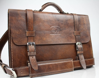 "Leather Messenger Bag,  Leather Briefcase, Leather shoulder bag, Macbook Pro, 15"" - 145"
