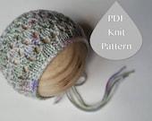 PDF Knit Pattern #0074 The Brooklyn Knit Bonnet, Newborn, Knit PDF Pattern, Tutorial, Knit Pattern, Intermediate,Easy,Instruction,Newborn