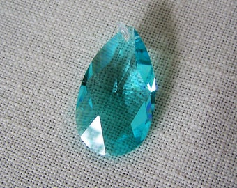 SWAROVSKI CRYSTAL BEAD Large Turquoise 40 x 27 mm Faceted Teardrop Drop Bead Jewelry Making Blue Crystals Pendant