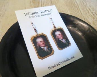 William Bartram, American Naturalist, Portrait, Botanist, scientist, southeast naturalist, science earrings, historical (Style no. EBX1001)