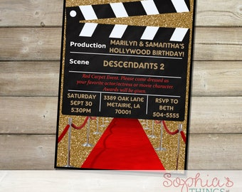 Hollywood invitation Etsy