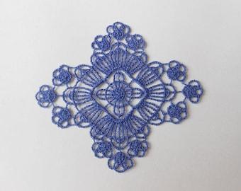 Blue pattern lace 6 x 6.8 cm