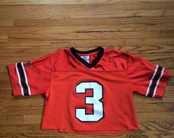 Reworked Oklahoma State University Number 3 Crop Top Football Jersey