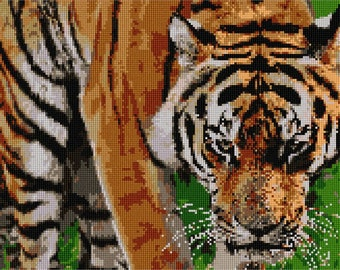 Needlepoint Kit or Canvas: Tiger Too Close