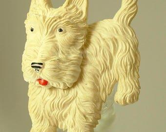 Antique/ estate Art deco 1920s / 1930s cream celluloid, moving head, Scottie dog costume pin/ brooch - jewelry