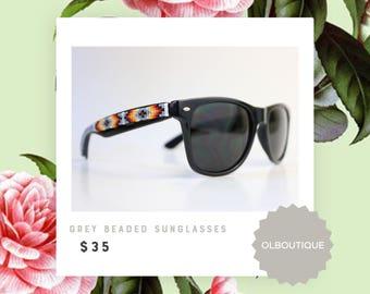 Black Frame Grey Tribal Beaded Sunglasses - Native American Handcrafted