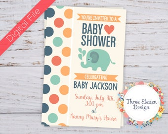 Elephant Printable Baby Shower Invitation