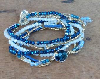 Bracelet 3 turns - Japanese pearls - wrap bracelet - boho - hippie - gypsy - gypset - bohemian - ethnic - gypsy style - SABLE CHAUD