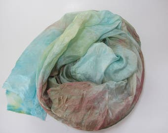Hand dyed blue, green, and red china silk