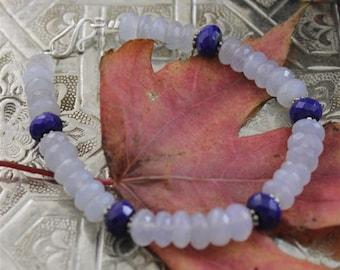 faceted chalcedony and lapis lazuli semi-precious stones bracelet