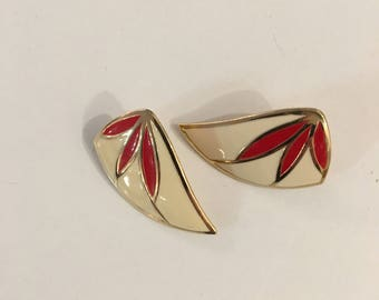 Vintage CREAM GOLD and RED Earrings