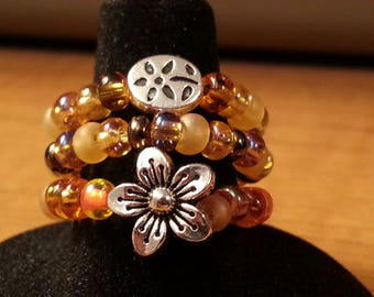 Silver Flower Brown Amber Orange Glass Beads Stretch Stack Ring 7 - 8