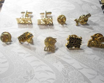 2 Goldplated Jesus Cufflinks with 7 Assorted Religious Pins