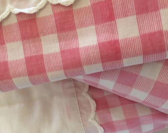 Pink gingham checked Double Sheet Set NOS shabby cottage cabin fabric panel preppy room decor pink pastel bedding Utica USA