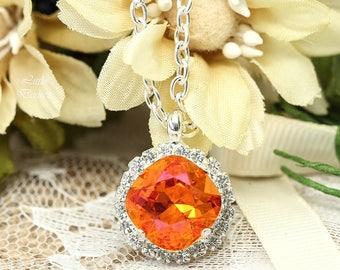 Orange Pink Necklace Fuchsia Orange Necklace Bridesmaids Jewelry Astral Pink Swarovski Crystal Bridesmaids Necklace Crystal Necklace AP50N