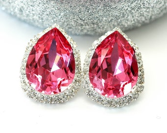 Fuchsia Pink Post Earrings Large Stud Earrings Swarovski Crystal Fancy Stone Pear Shaped Pink Earrings Bridal Earrings Bridesmaid Gift RP31S