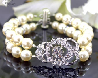 Pearl Bracelet Rhinestone Bridal Bracelet Wedding Bracelet Crystal Bracelet Swarovski Pearl Multistrand Pearl Wedding Jewelry AMENDINE