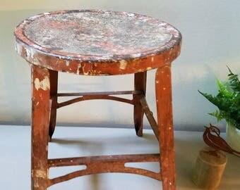 Vintage Metal Stool Side Table Plant Stand Furniture Garden